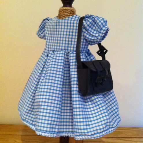 Blue School Dress and Satchel