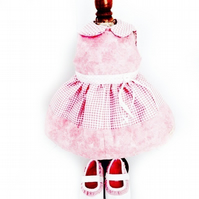 Pink gingham dress and matching shoes - 50cm doll