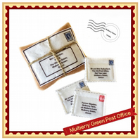 Miniature package and three letters