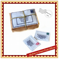 Miniature parcel and two letters