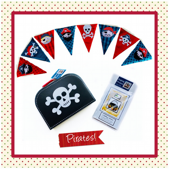 Reduced - Pirate suitcase, Pirate Bunting and 4 Pirate Story  Books