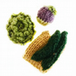 Selection of knitted vegetables