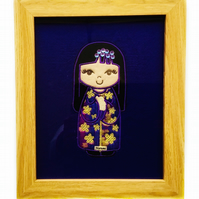 Embroidered Japanese Kokeshi Doll picture - Narumi
