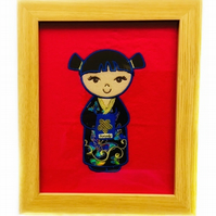 Embroidered Japanese Kokeshi Doll picture - Natsuko