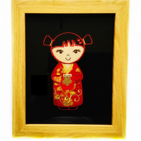 Embroidered Japanese Kokeshi Doll picture - Masumi