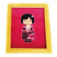 Reduced - Embroidered Japanese Kokeshi Doll picture - Kichi