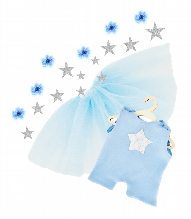 Powder Blue Star Leotard and Tutu Set