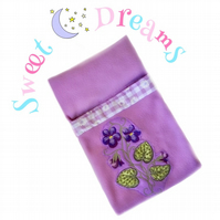 Reduced - Violet Embroidered Doll's Sleeping Bag