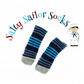 Salty Sailor Socks - Navy, grey and Sky Blue Stripes