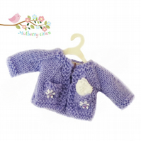 Lavender  Cardigan with little Pockets and a Handkerchief