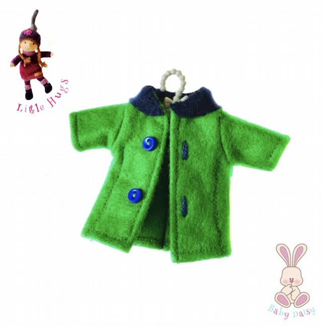 Emerald Green and Navy Coat to fit the Little Hugs dolls and Baby Daisy