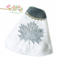 Reduced - Silver Grey and White Leaf Embroidered Cape