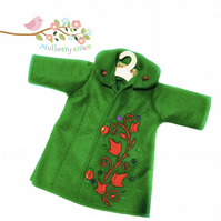 Tailored and Embroidered Emerald Green Coat