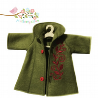 Embroidered Olive Green Tailored Coat