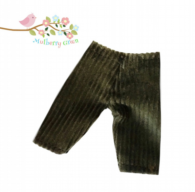 Reduced - Olive Cropped Corduroy Trousers