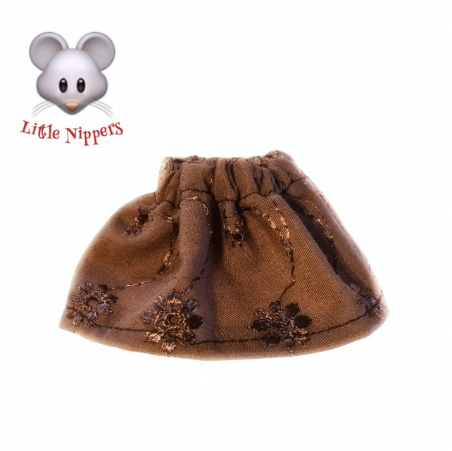 Little Nippers' Brown Embroidered Skirt