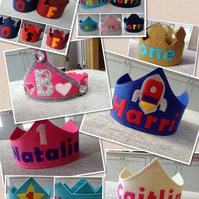 Customised Felt Birthday Party Hats Crowns
