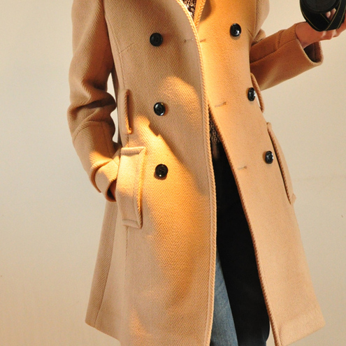 Timeless Classic Cream Beige Wool Double Breasted Winter Trench Coat