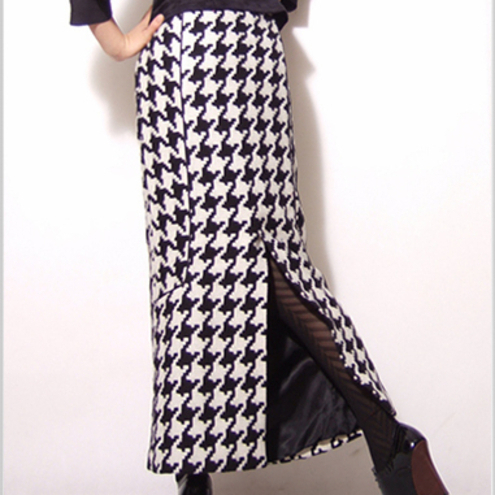 Black White Tartan Pure Wool Long Pencil Skirt
