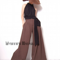 Brown Linen Cotton Wide Leg Trousers Straight Trousers