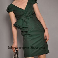 Elegant Emerald Green Cotton V Neck Bow Puff Sleeves Fitted Cocktail Shift Dress