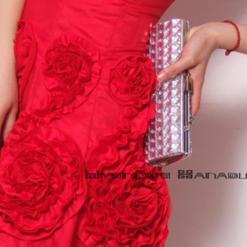 Floral Jacquard Cotton Ruffles Flounces Little Red Dress