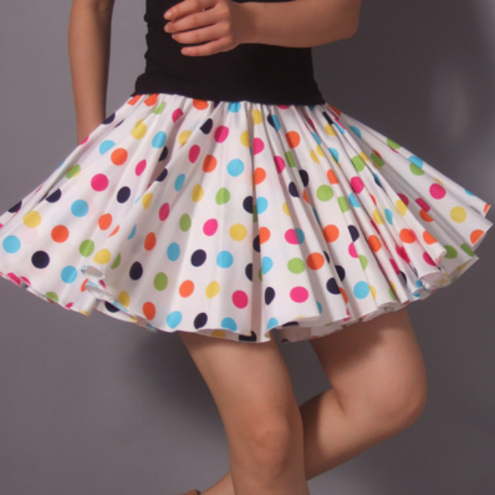 Sexy White Pink Blue Polka Dots Cotton Pleated Full Circle Mini Skirt
