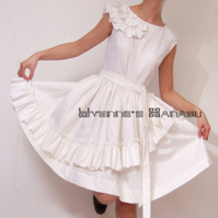 White Jacquard Cotton Sateen Ruffle Cap Sleeves Fairy Cocktail Dress