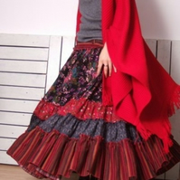 Red Blue Purple Floral Cotton Full Pleated Long Skirt