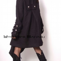 Black Wool Long Sleeved Fashion Winter Trench Coat
