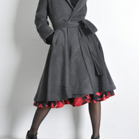 Grey Cashmere Wool Blended Long Victorian Winter Trench Coat
