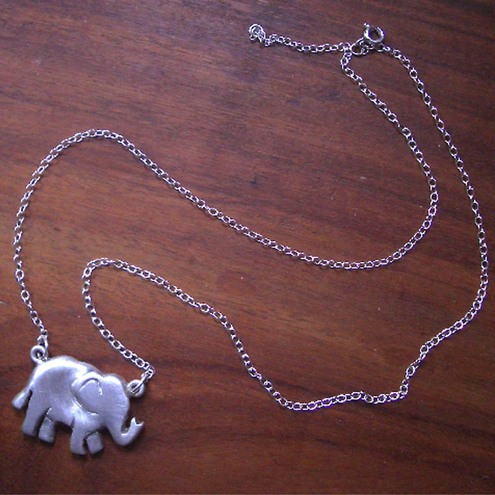 Handmade Sterling Silver Elephant pendant on chain.