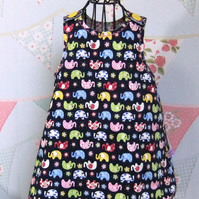 Elephant print & floral reversible pinafore dress 18-24 months