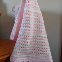 Soft pink and cream stripes baby blanket