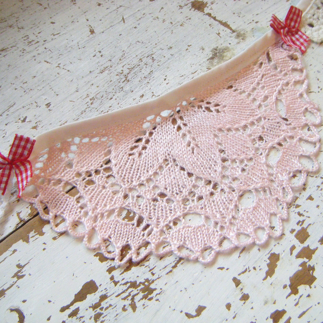 Vintage Doily Wedding Bunting - Pale Pink White & Ivory