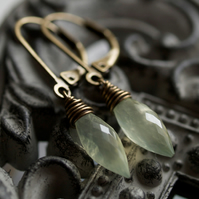 Willow Earrings - made with prehnite and oxidized brass