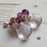Dusky Lilac Rose Earrings - made with pink amethyst, tourmaline, garnet and sterling silver