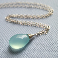 Aqua Sea Foam Necklace - made with chalcedony and sterling silver