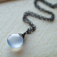 Lavender Moon Necklace - made with natural chalcedony and oxidised sterling silver