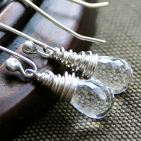 Twinkle Drop Earrings - made with AAA rock crystal quartz and sterling silver