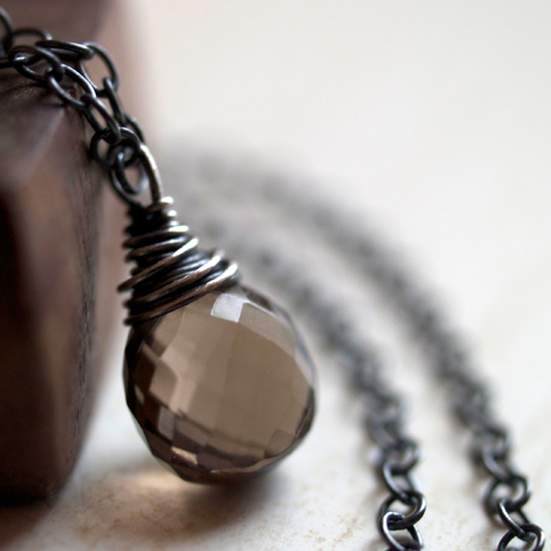 Earth Drop Necklace - smoky quartz and oxidised sterling silver