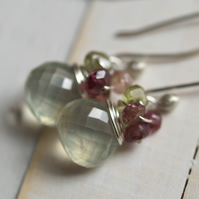Raspberry Dew Drop Earrings - made with prehnite, tourmaline, garnet and sterling silver