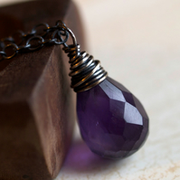 RESERVED - Pensive Violet Necklace - made with amethyst and oxidised sterling silver