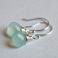 Aqua Sea Foam Earrings - made with chalcedony and sterling silver
