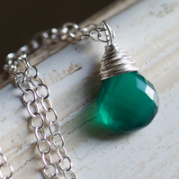 Emerald Green Onyx Necklace - made with AA grade green onyx and sterling silver
