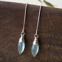 RESERVED - Icicle Earring - made with pale blue chalcedony and sterling silver