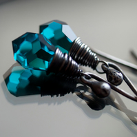 Lagoon Earrings - made with Czech Quartz Glass and Oxidised Silver