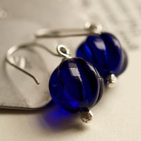 Blueberry Earrings - handmade with Czech glass and sterling silver