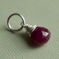 Ruby and Sterling Silver Pendant - pick your own pendants and chain