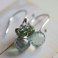 From the Garden - earrings made with mystic quartz, tourmaline and sterling silver